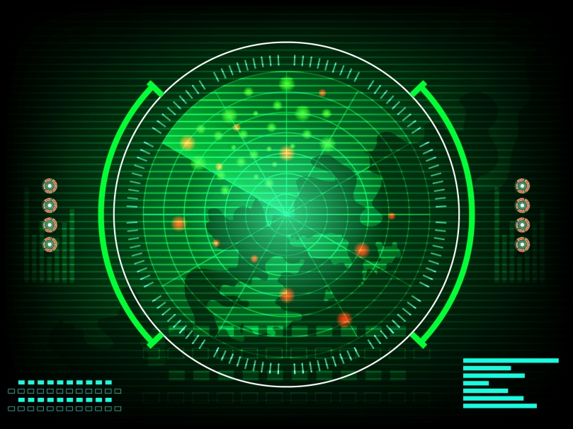 radar screen digital interface with world map  Concept future in computer network technology time data communication on green dark background. vector illustration