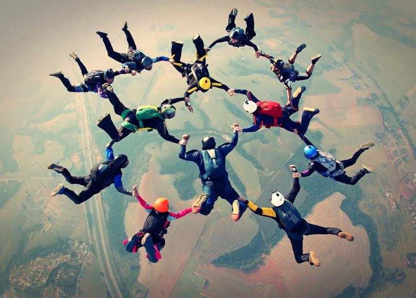 Skydivers team work photo effect